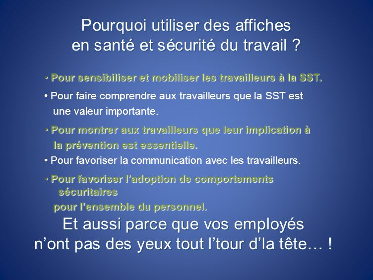 Pourquoi utiliser des affiches en santé et sécurité du travail
