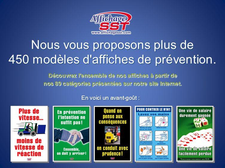 Nous vous proposons plus de 450 modèles d affiches de prévention.