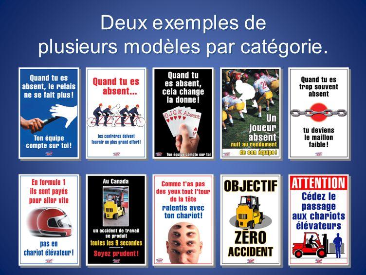 Deux exemples de plusieurs modèles par catégorie.