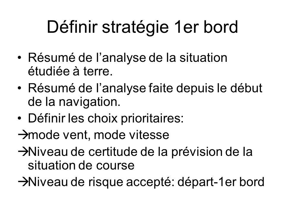 Définir stratégie 1er bord