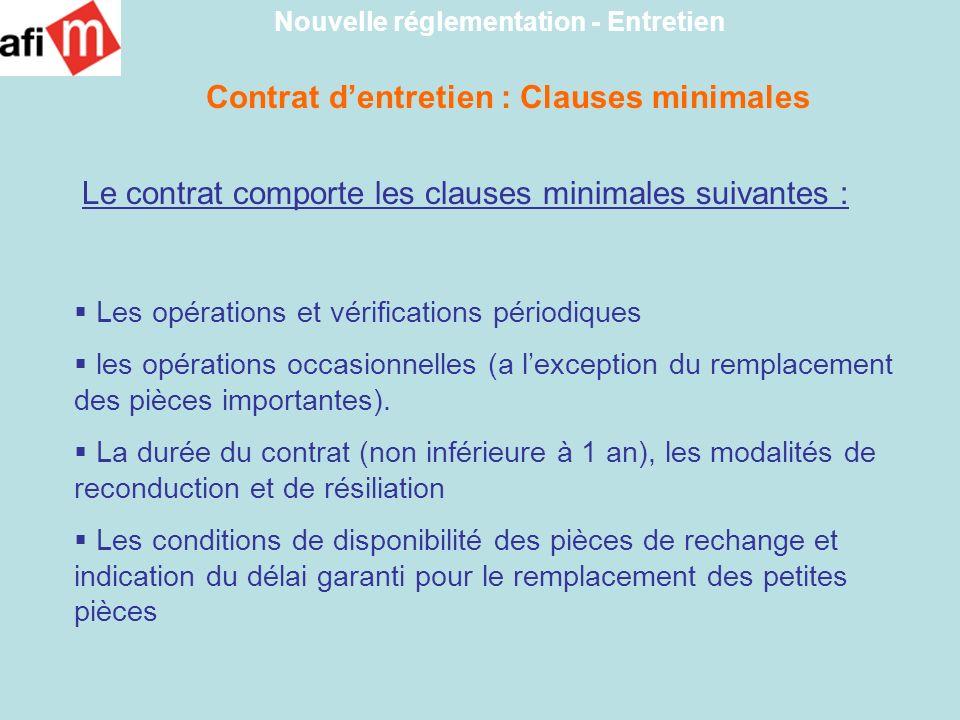 Contrat d'entretien : Clauses minimales
