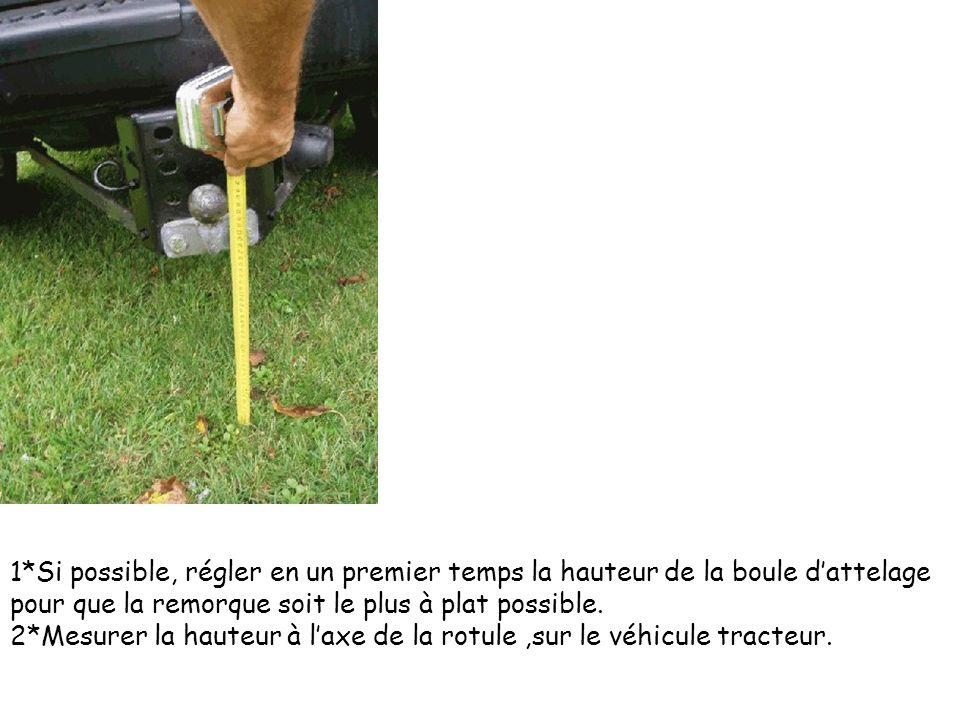1*Si possible, régler en un premier temps la hauteur de la boule d'attelage pour que la remorque soit le plus à plat possible.