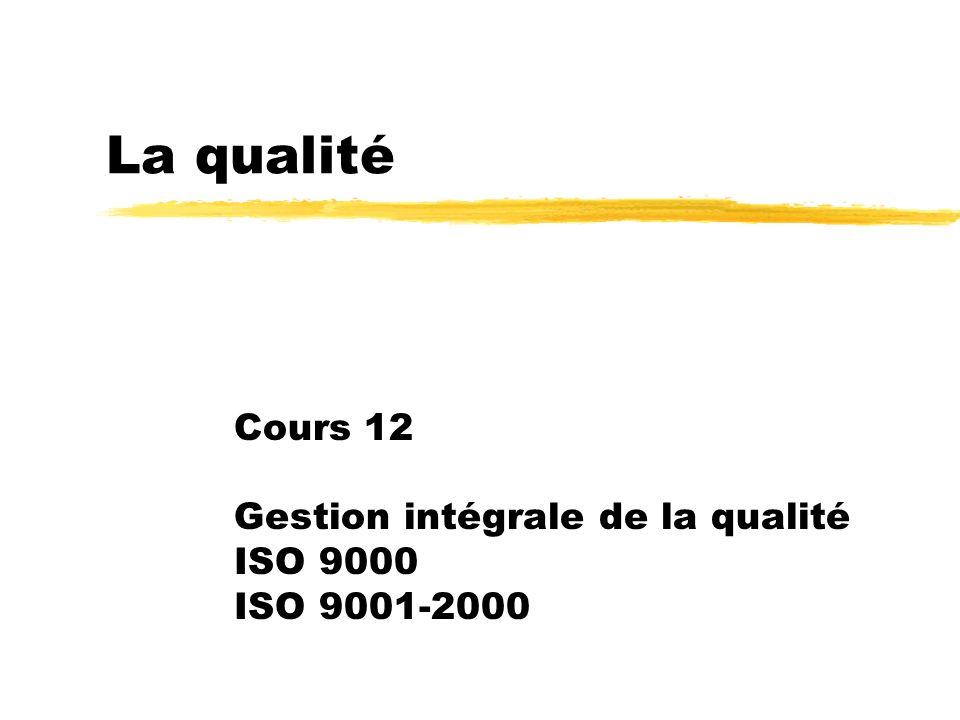 Cours 12 Gestion intégrale de la qualité ISO 9000 ISO 9001-2000