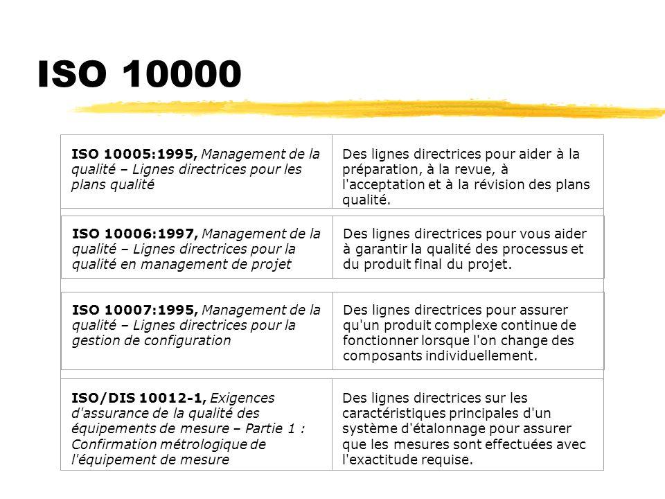 ISO 10000 ISO 10005:1995, Management de la qualité – Lignes directrices pour les plans qualité.