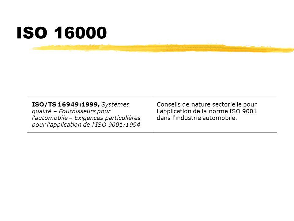 ISO 16000 ISO/TS 16949:1999, Systèmes qualité – Fournisseurs pour l automobile – Exigences particulières pour l application de l ISO 9001:1994.
