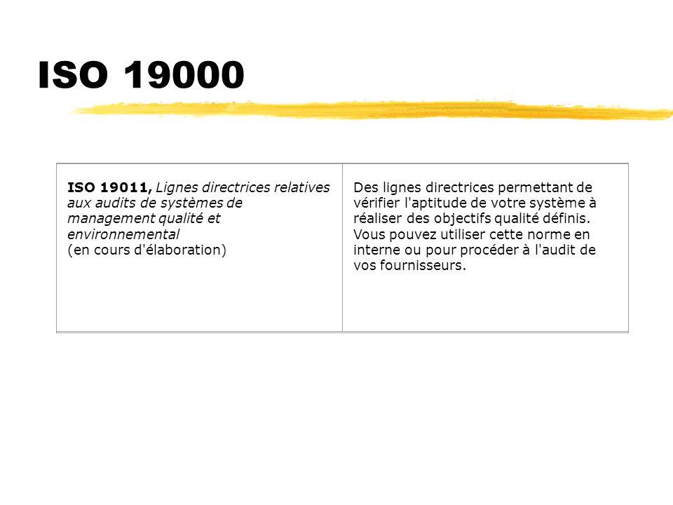 ISO 19000 ISO 19011, Lignes directrices relatives aux audits de systèmes de management qualité et environnemental (en cours d élaboration)