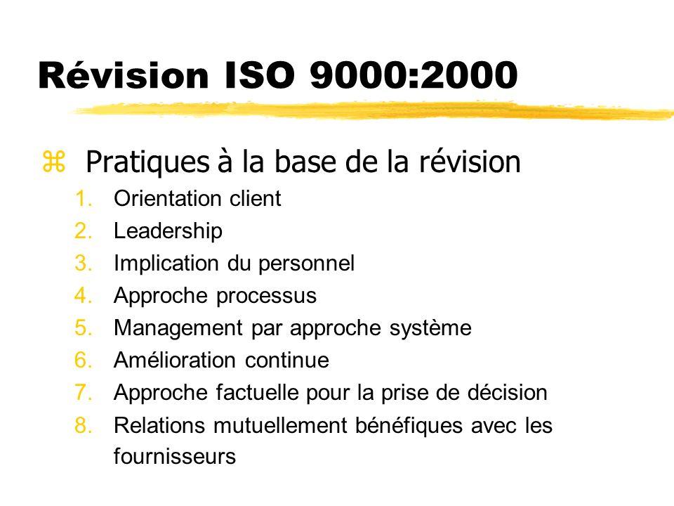 Révision ISO 9000:2000 Pratiques à la base de la révision