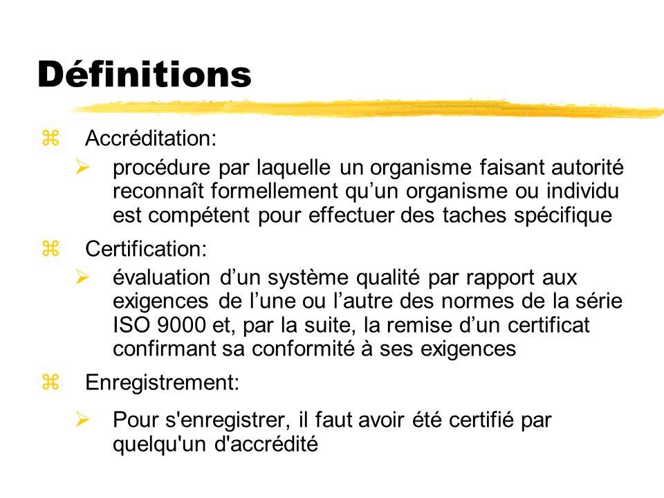 Définitions Accréditation: