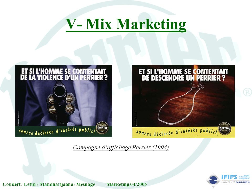 V- Mix Marketing Campagne d'affichage Perrier (1994)