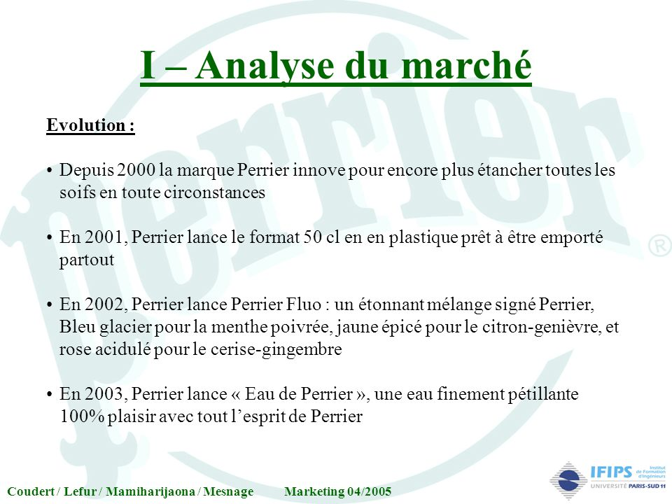 I – Analyse du marché Evolution :