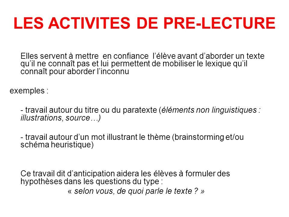 LES ACTIVITES DE PRE-LECTURE