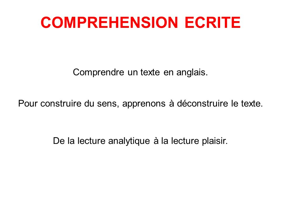 COMPREHENSION ECRITE Comprendre un texte en anglais.