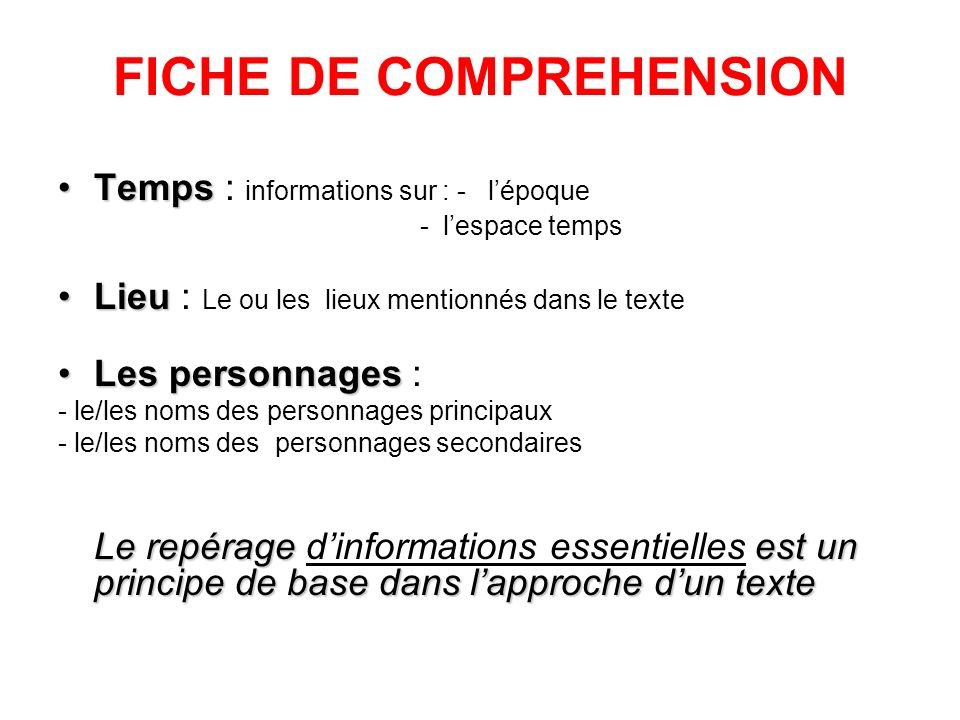 FICHE DE COMPREHENSION