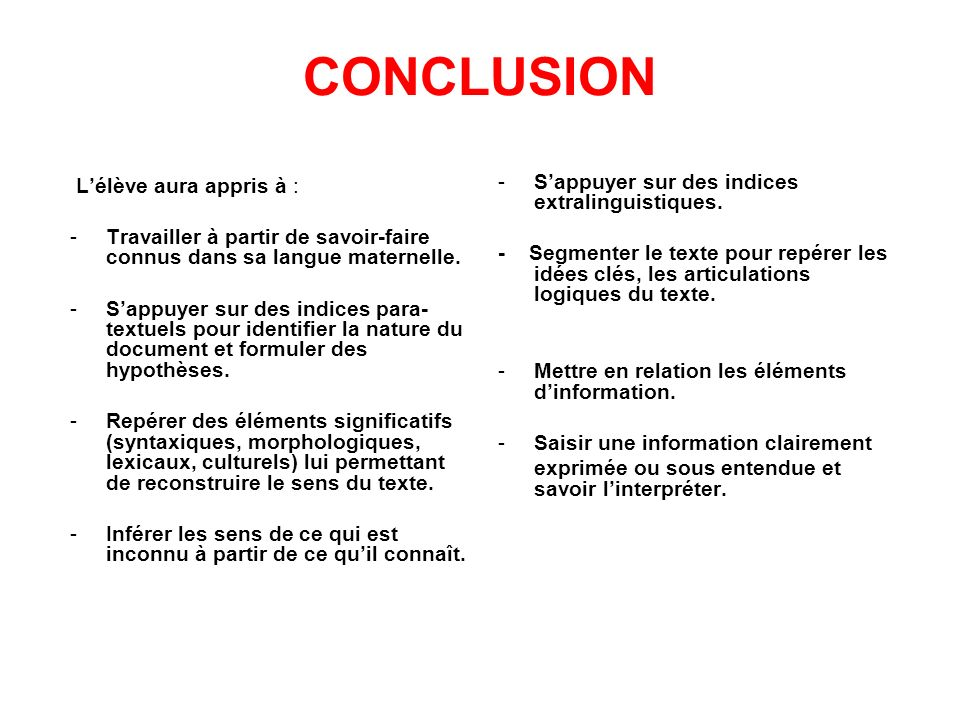 CONCLUSION S'appuyer sur des indices extralinguistiques.
