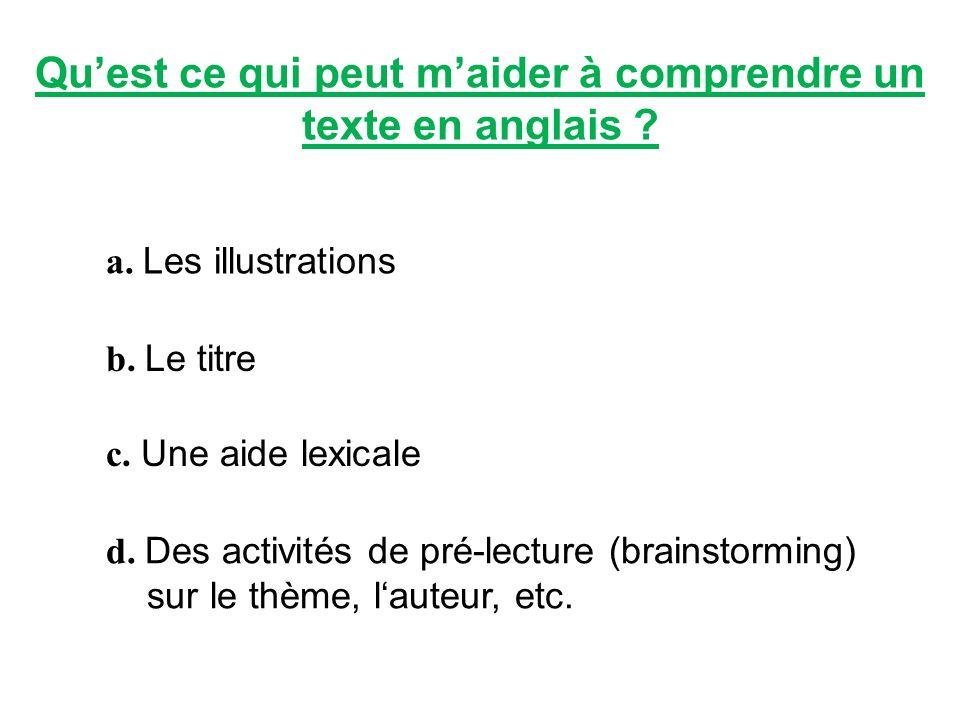 Qu'est ce qui peut m'aider à comprendre un texte en anglais