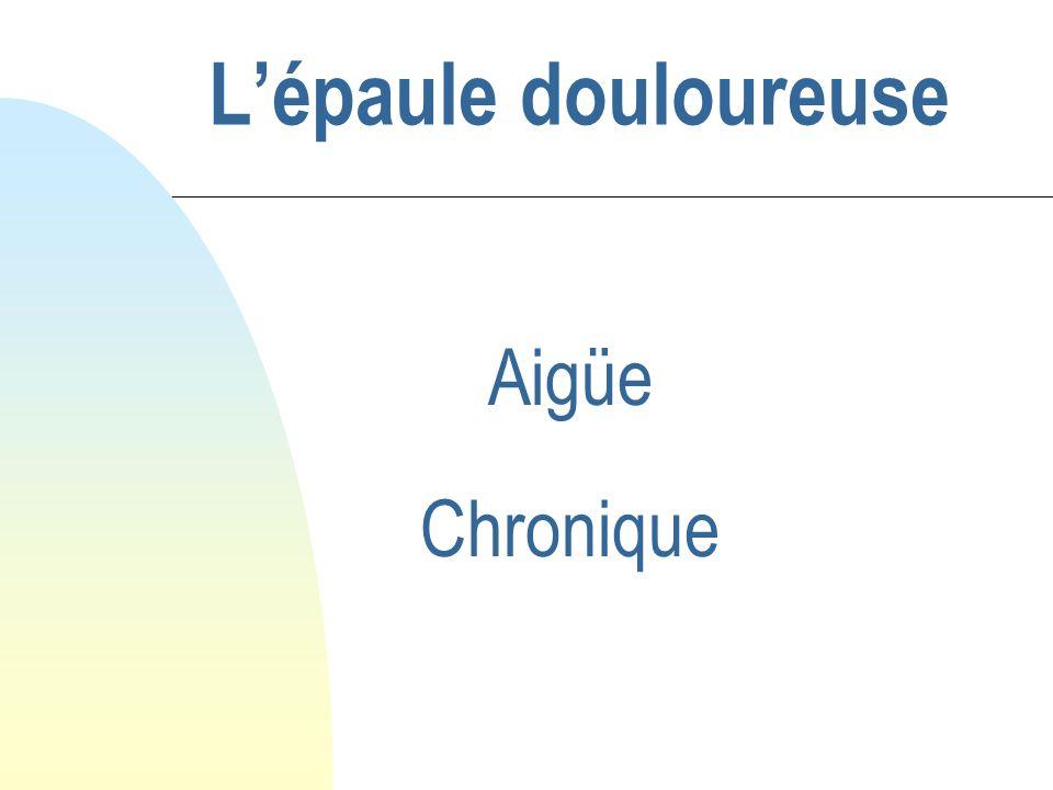 L'épaule douloureuse Aigüe Chronique