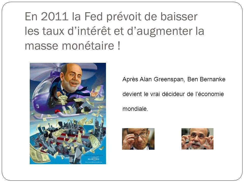 En 2011 la Fed prévoit de baisser les taux d'intérêt et d'augmenter la masse monétaire !