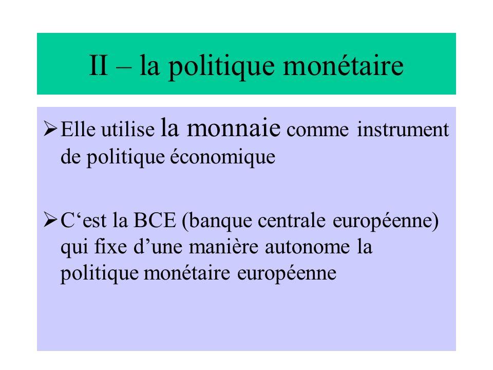 II – la politique monétaire