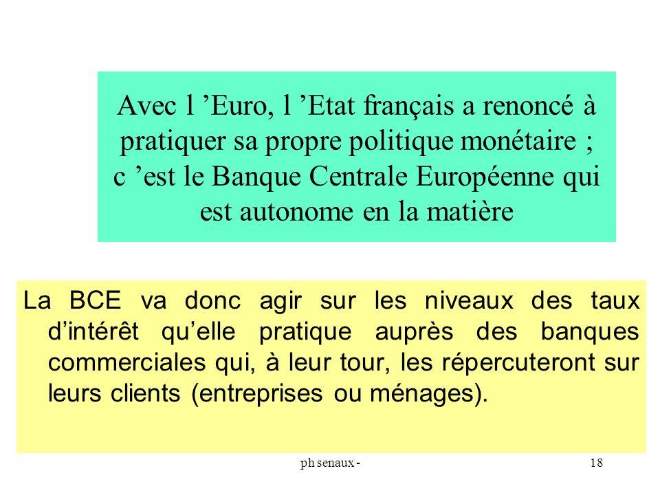 Avec l 'Euro, l 'Etat français a renoncé à pratiquer sa propre politique monétaire ; c 'est le Banque Centrale Européenne qui est autonome en la matière