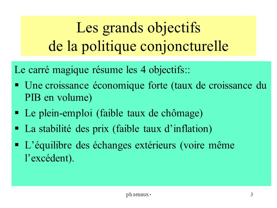 Les grands objectifs de la politique conjoncturelle