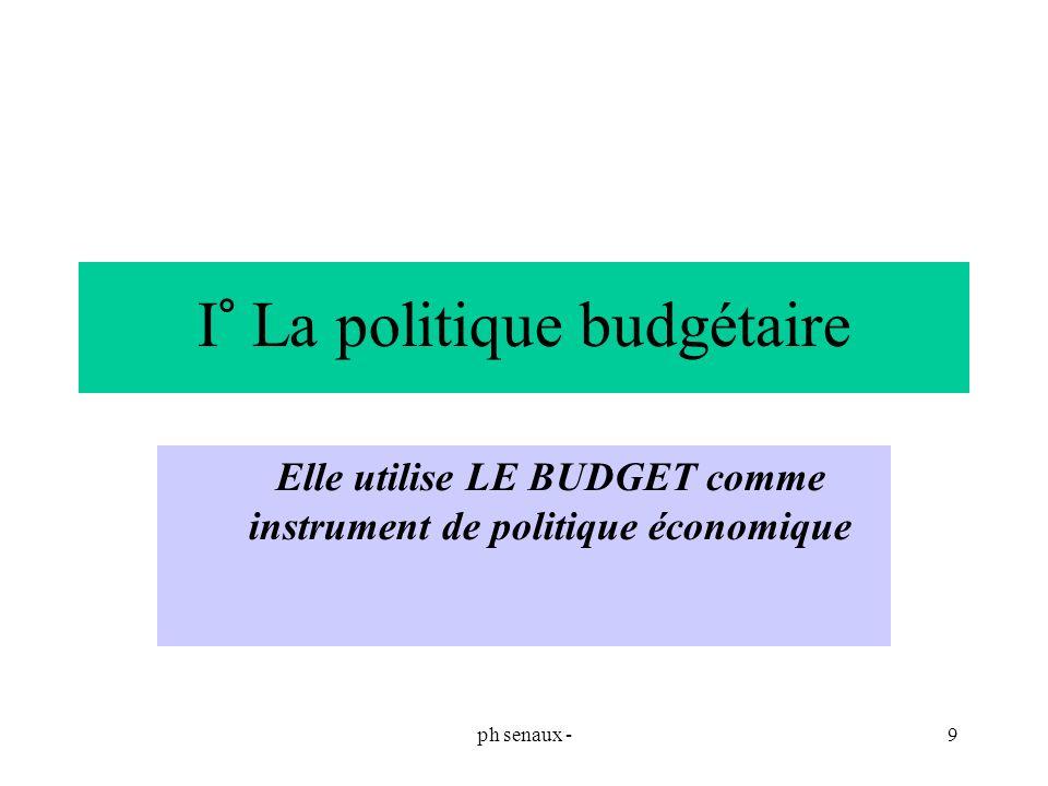 I° La politique budgétaire