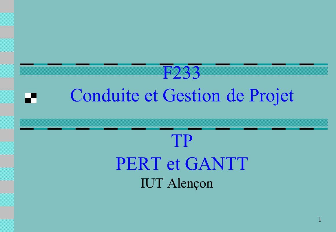 F233 Conduite et Gestion de Projet TP PERT et GANTT