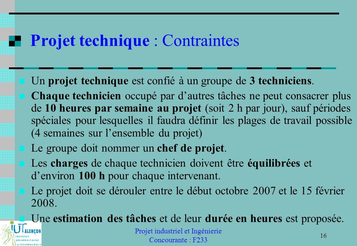 Projet technique : Contraintes
