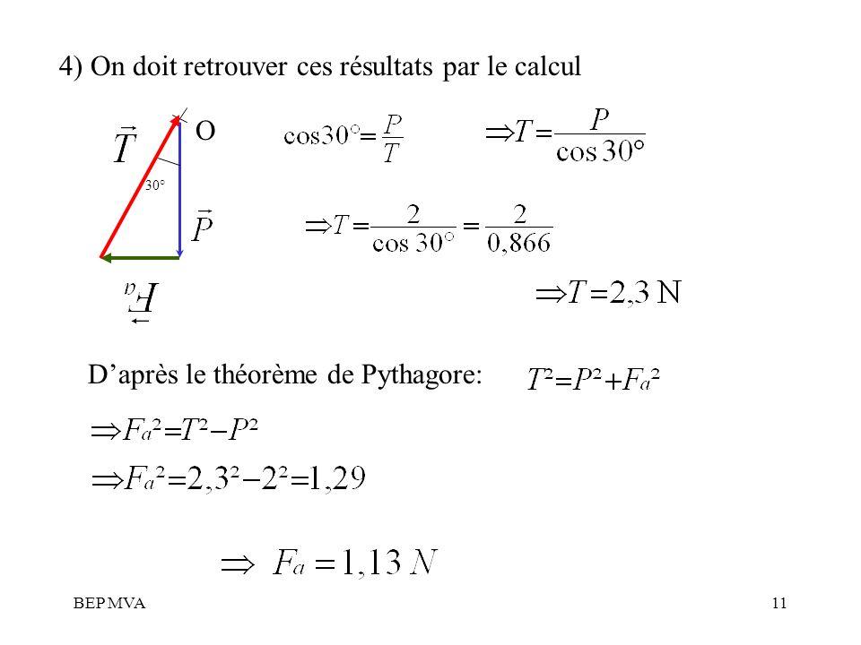 4) On doit retrouver ces résultats par le calcul