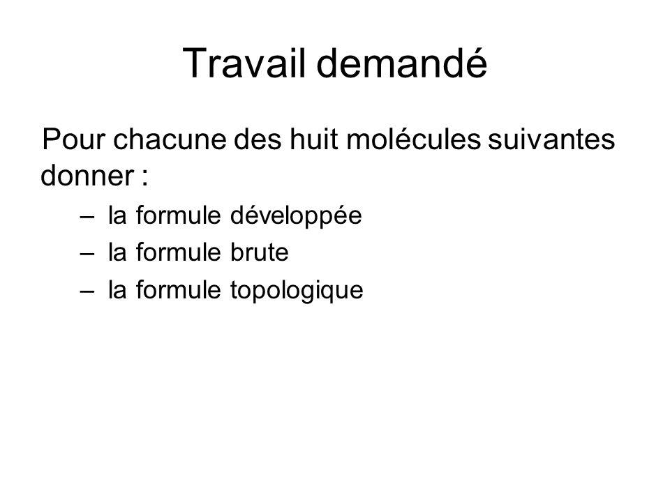 Travail demandé Pour chacune des huit molécules suivantes donner :