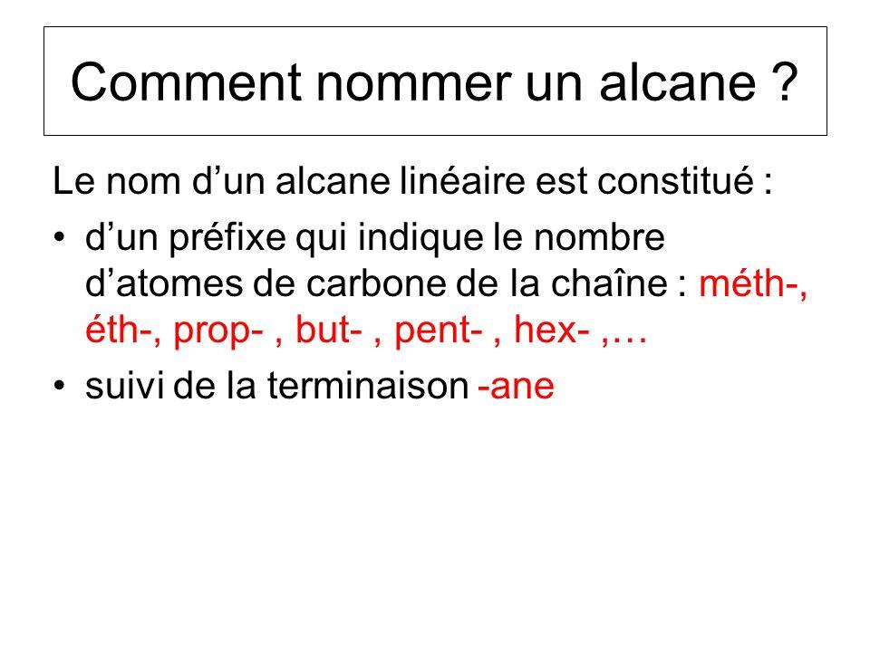 Comment nommer un alcane