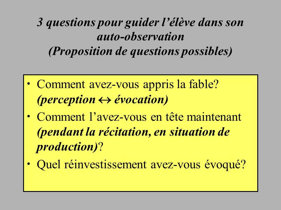 3 questions pour guider l'élève dans son auto-observation (Proposition de questions possibles)
