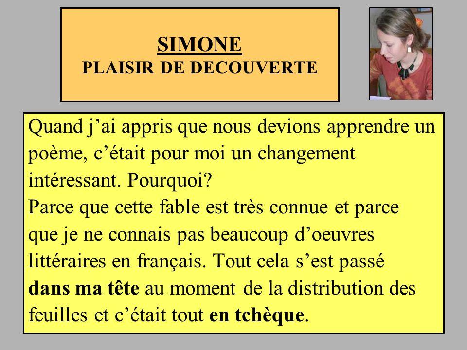SIMONE PLAISIR DE DECOUVERTE