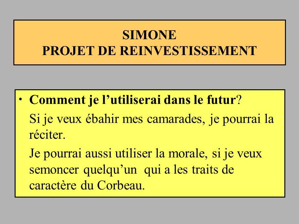 SIMONE PROJET DE REINVESTISSEMENT