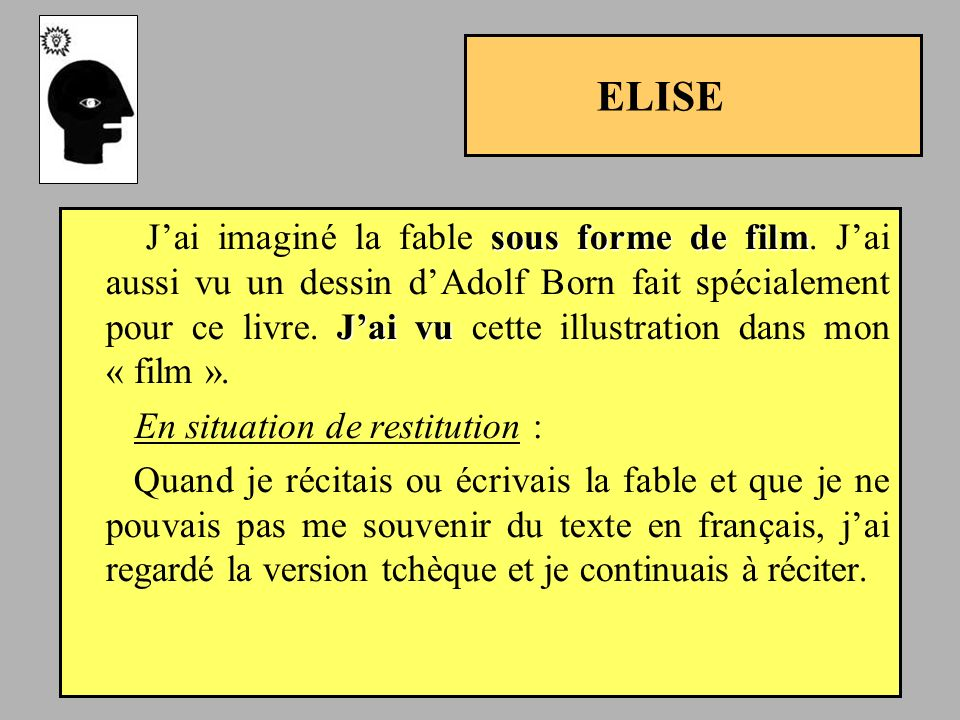 ELISE En situation de restitution :