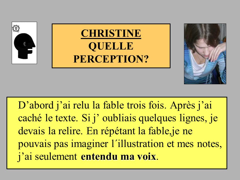CHRISTINE QUELLE PERCEPTION