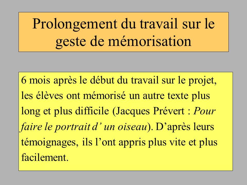 Prolongement du travail sur le geste de mémorisation