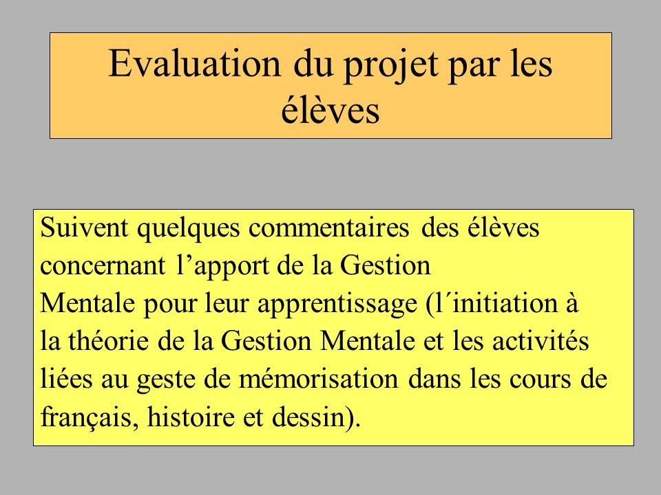 Evaluation du projet par les élèves