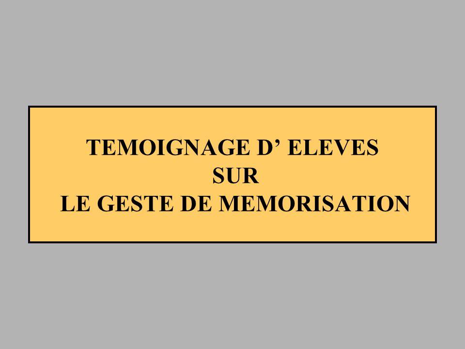 TEMOIGNAGE D' ELEVES SUR LE GESTE DE MEMORISATION
