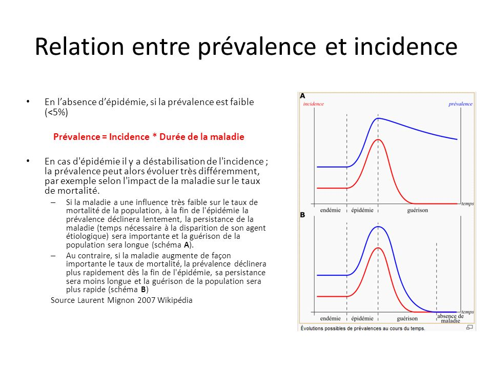 Relation entre prévalence et incidence