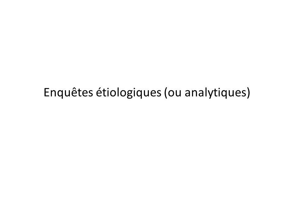 Enquêtes étiologiques (ou analytiques)