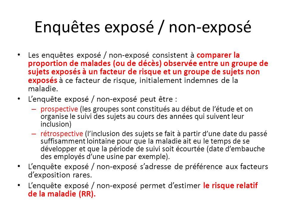 Enquêtes exposé / non-exposé