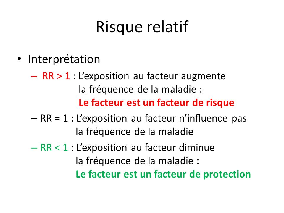 Risque relatif Interprétation