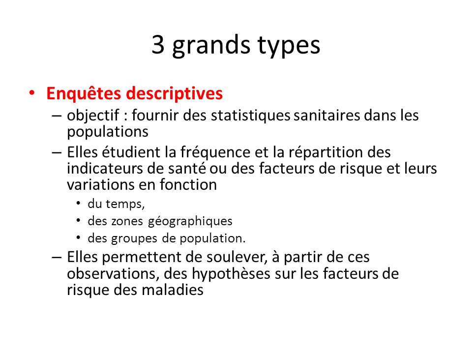 3 grands types Enquêtes descriptives