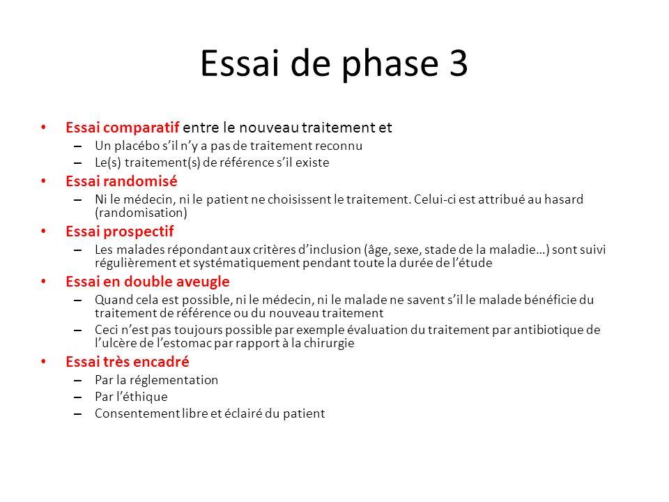 Essai de phase 3 Essai comparatif entre le nouveau traitement et