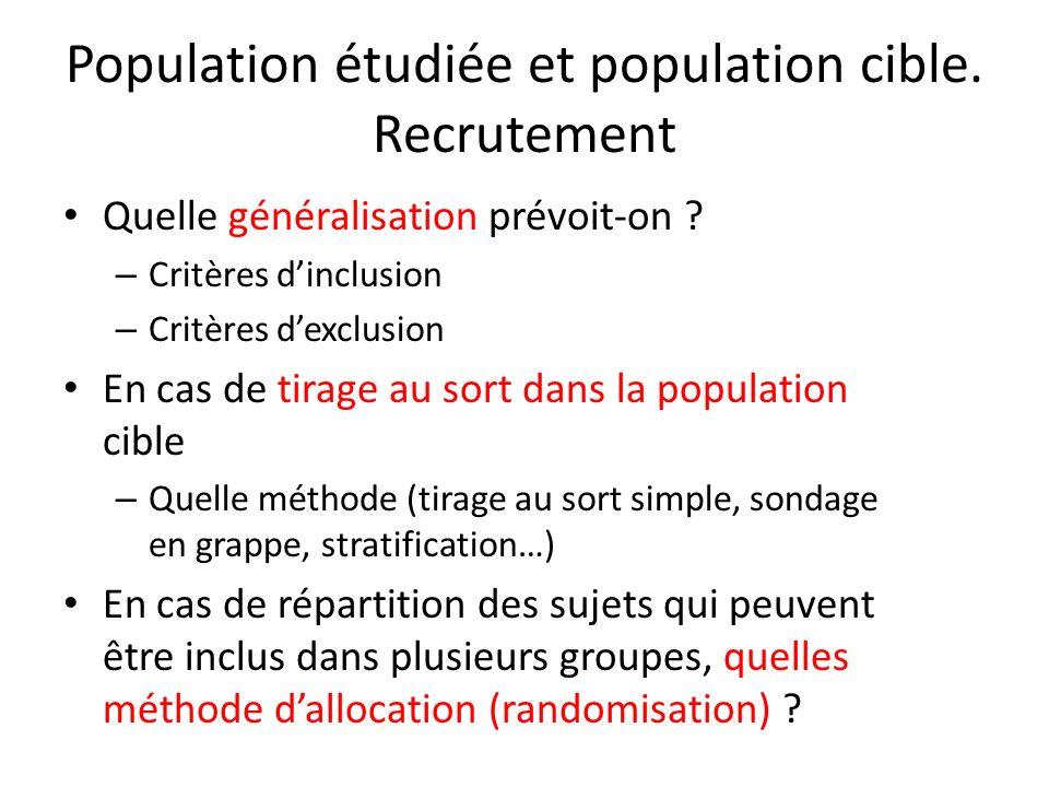 Population étudiée et population cible. Recrutement