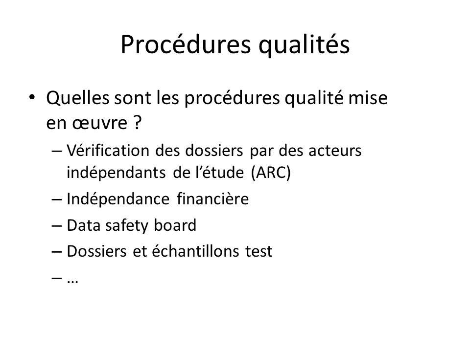 Procédures qualités Quelles sont les procédures qualité mise en œuvre Vérification des dossiers par des acteurs indépendants de l'étude (ARC)