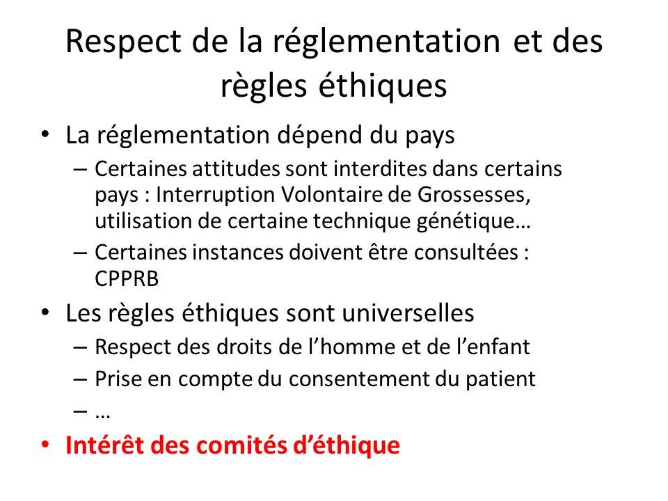 Respect de la réglementation et des règles éthiques