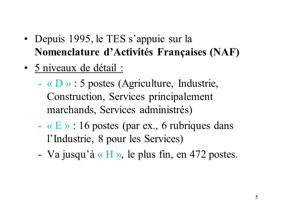 Depuis 1995, le TES s'appuie sur la Nomenclature d'Activités Françaises (NAF)