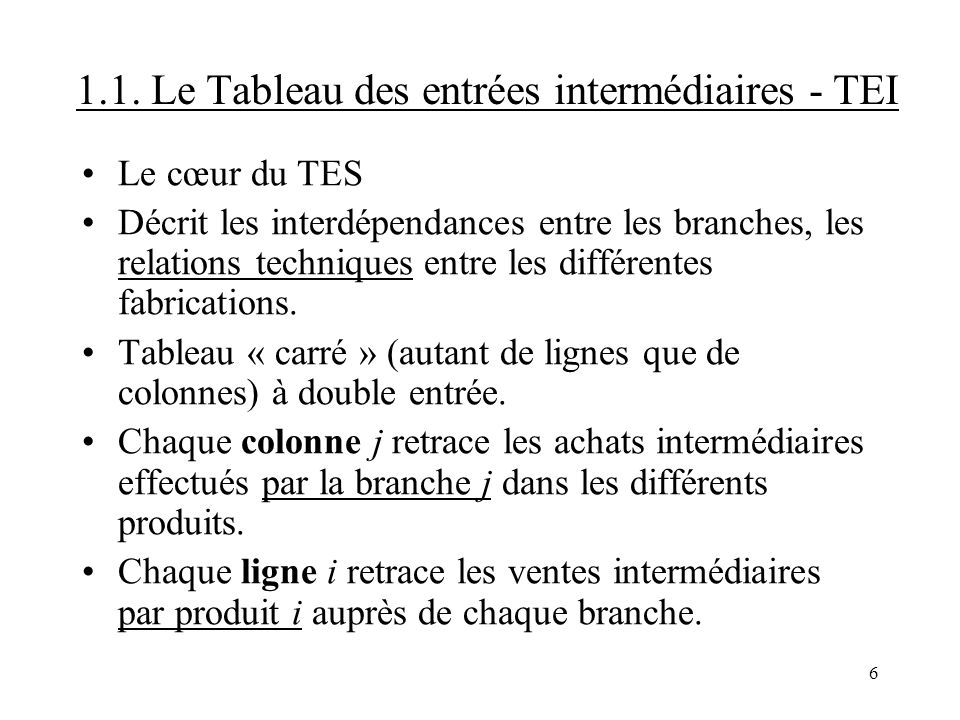 1.1. Le Tableau des entrées intermédiaires - TEI