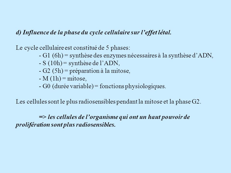 d) Influence de la phase du cycle cellulaire sur l'effet létal.